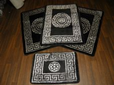 ROMANY GYPSY WASHABLES TRAVELLERS MATS FULL SET OF 4 MATS/RUGS BLACK/SILVER
